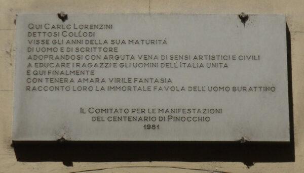 Palazzo Ginori targa Collodi