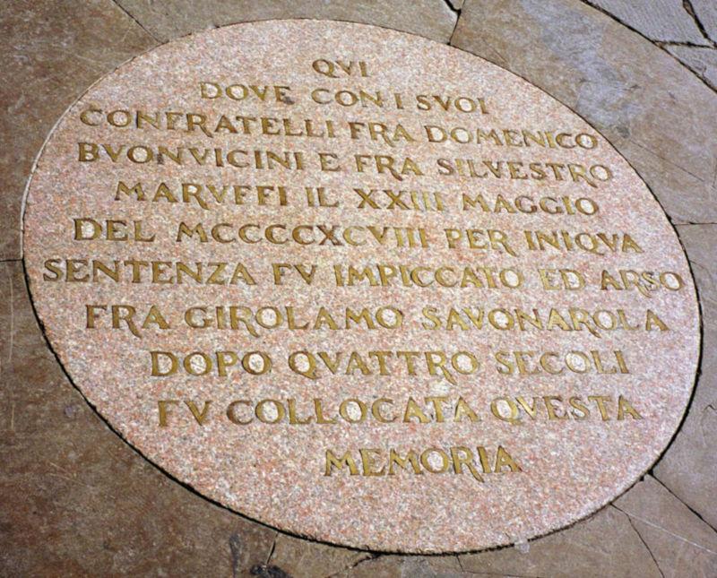 Lapide Savonarola Firenze Piazza Signoria